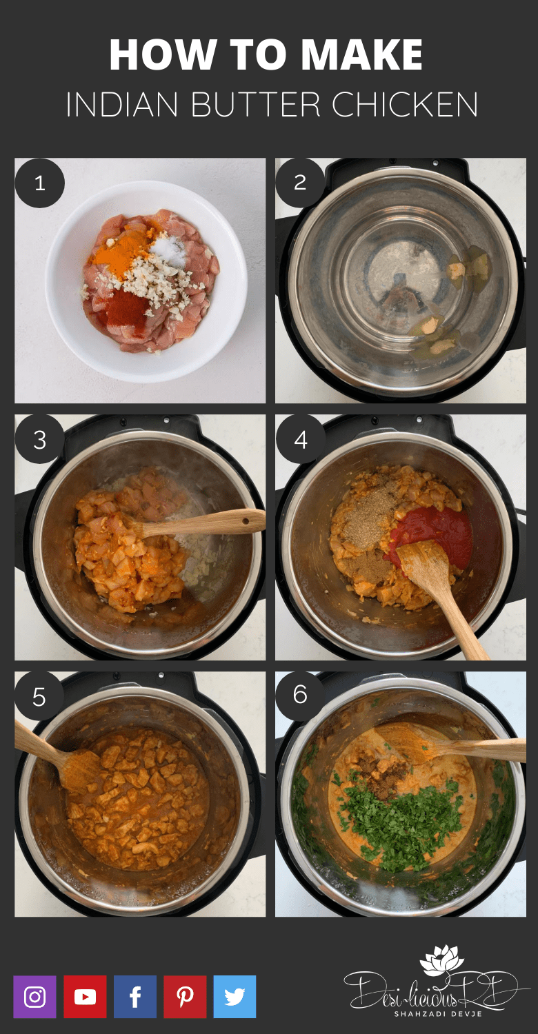 step by step preparation shots of how to make Indian butter chicken recipe in the instant pot