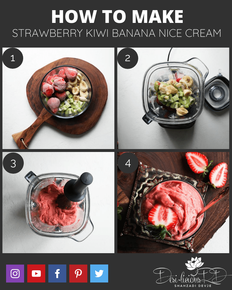 step by by step preparation shots of how to make strawberry nice cream in the blender