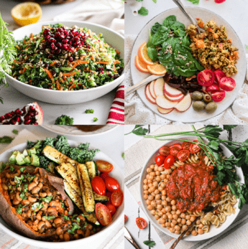 4 bowls of healthy dinner recipes displayed in a grid: two salads, one chickpeas dish and one black eyed peas dish