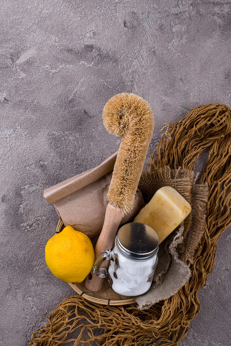 Zero waste natural accessories for cleaning. Eco friendly living concept