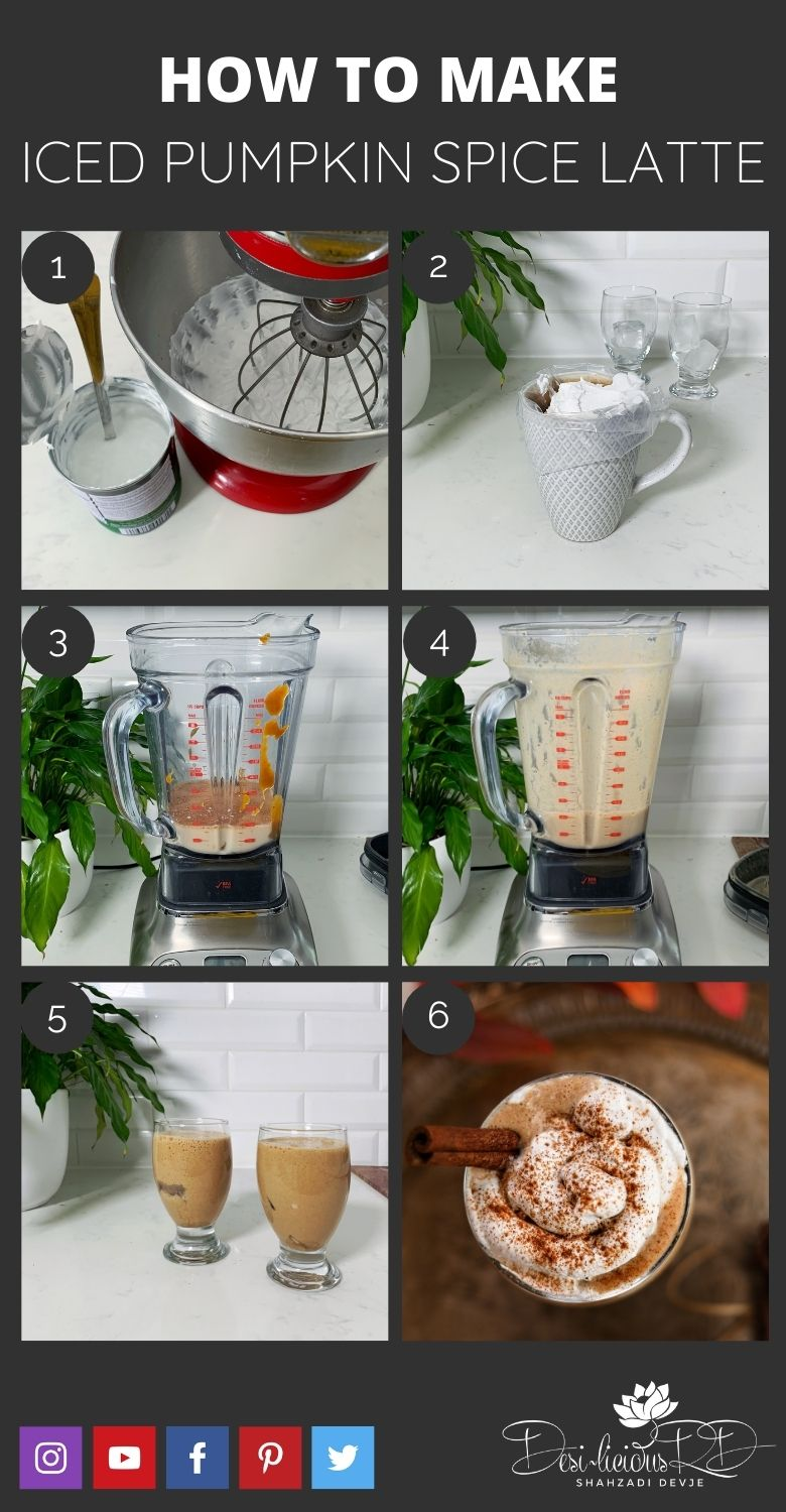 step by step preparation shots of how to make homemade iced pumpkin spice latte in the blender