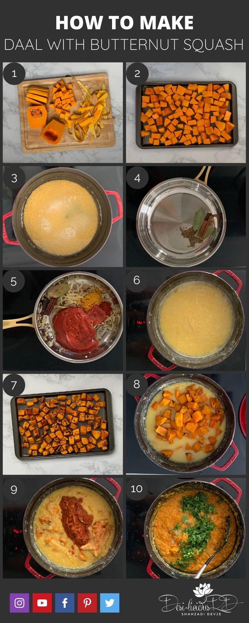 step by step preparation shots of how to make daal (aka yellow mung daal)
