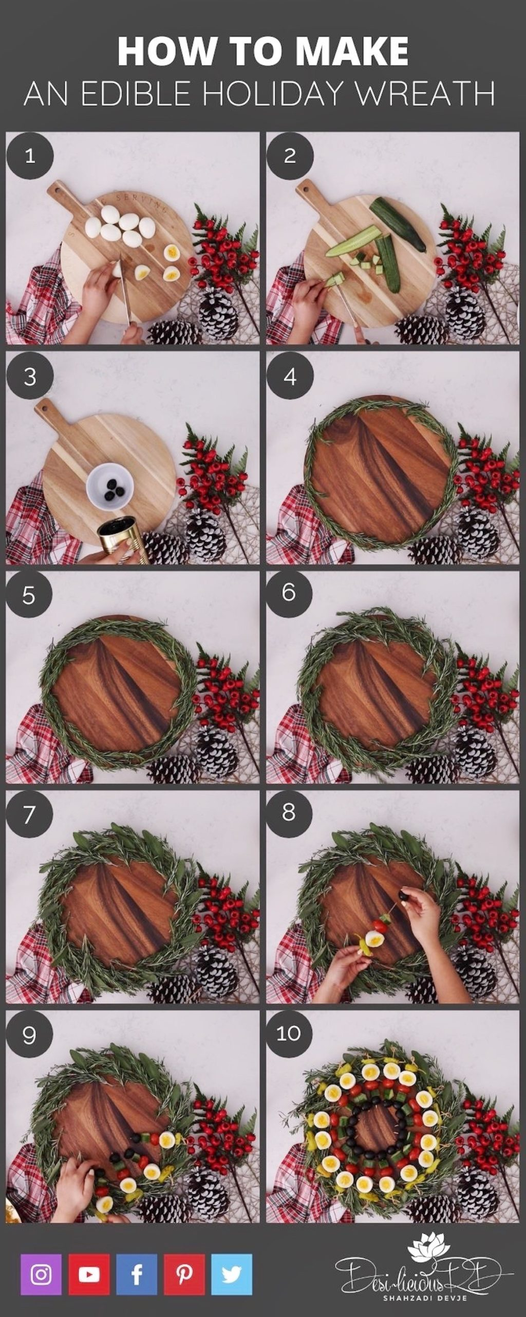 step by step preparation shots of how to make an edible holiday wreath - a low carb appetizer using boiled eggs for your holiday table.