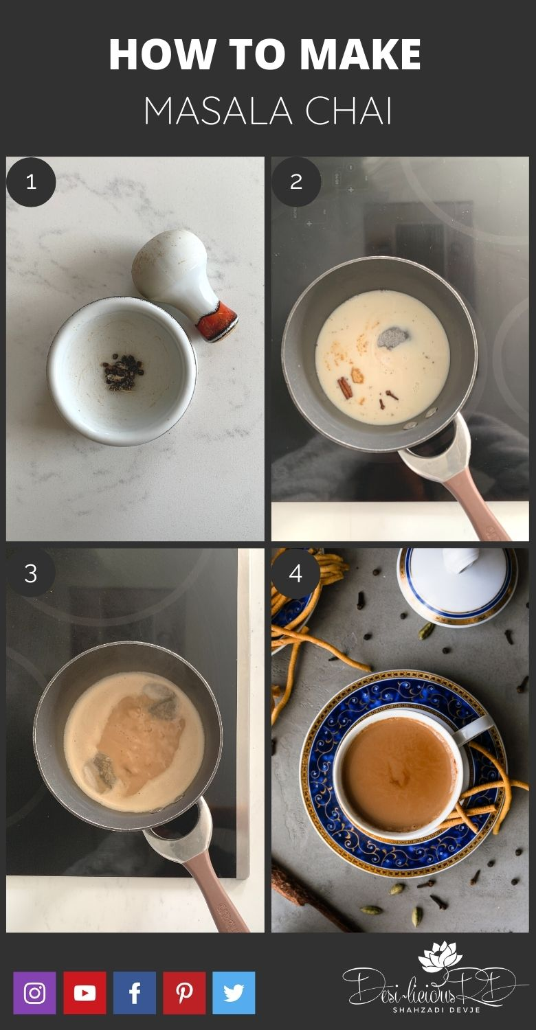 step by step preparation shots of how to make masala chai