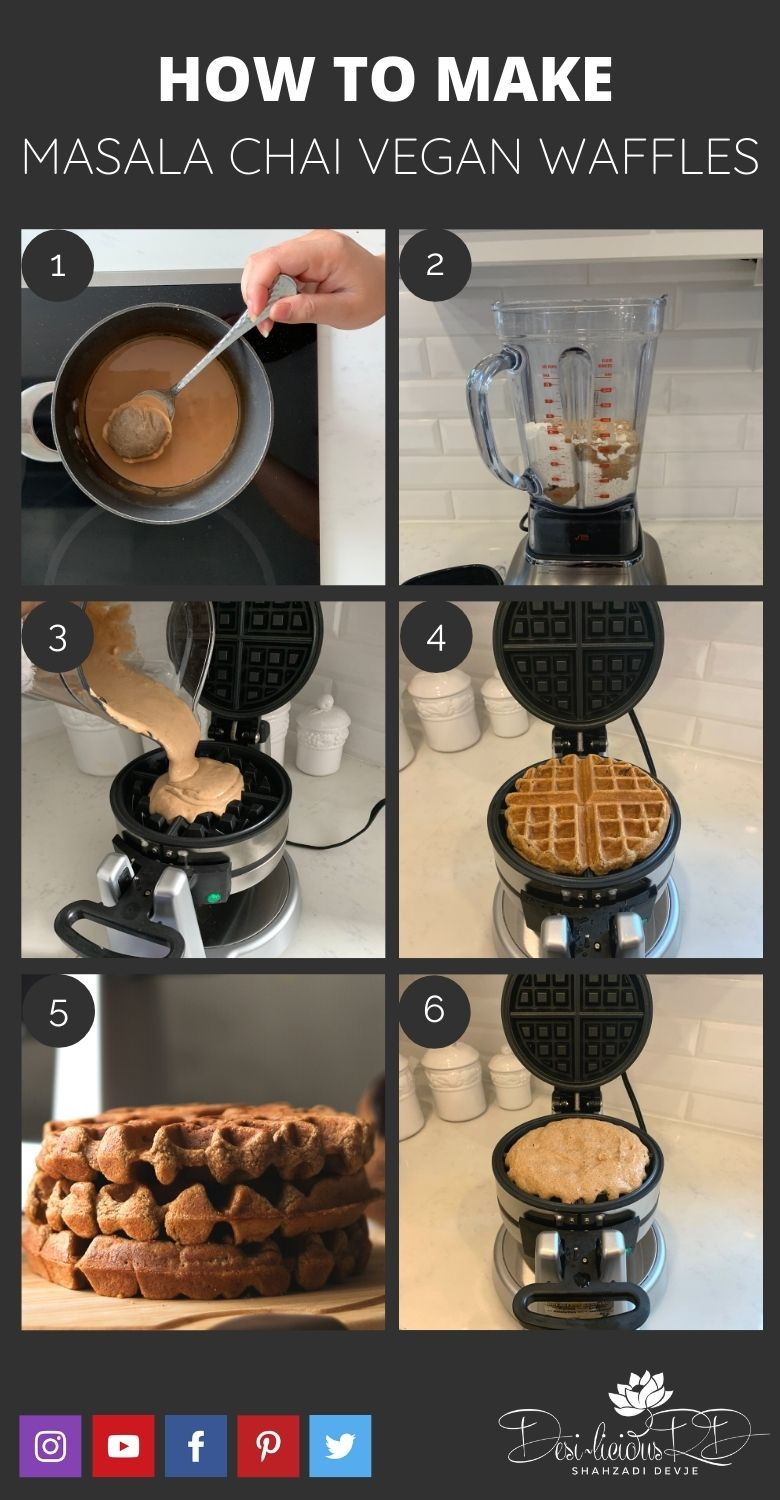step by step preparation shots of how to make masala chai vegan waffles in a waffle maker