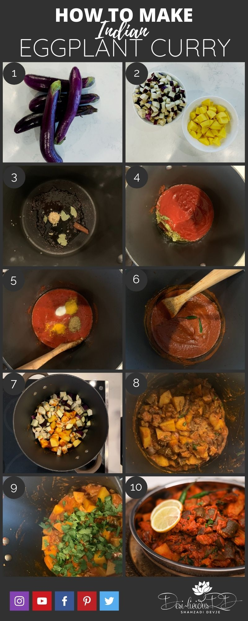 step by step preparation shots of Indian eggplant curry in one pot.