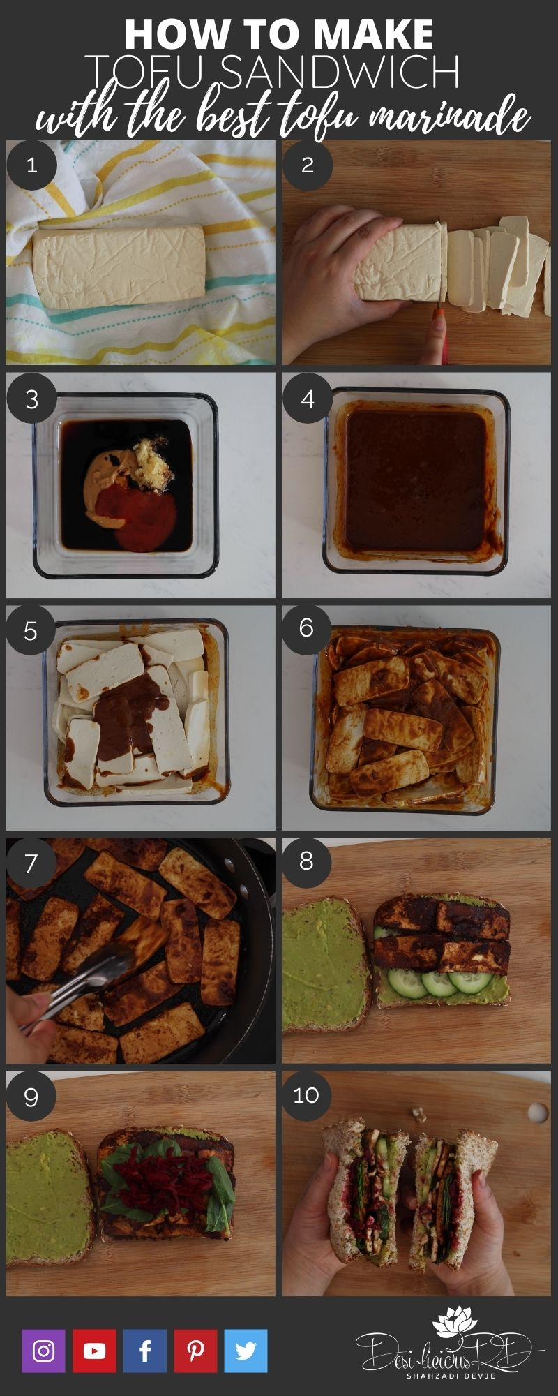 How to make a tofu sandwich with the best tofu marinade - step by step photos showing the process