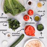 infographic showing how to make Fattoush Salad with smoked salmon