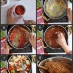 step by step preparation shots of Indian pav bhaji recipe at home