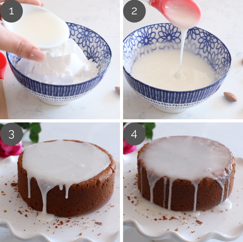 step by step images of how to make icing sugar for Persian love cake