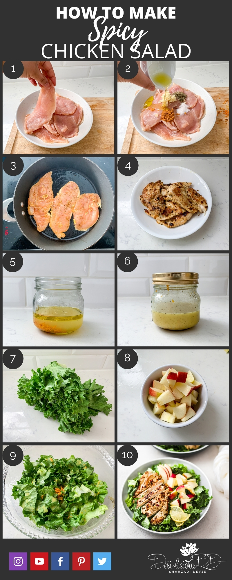 step by step preparation shots of how to make an easy and healthy spicy chicken salad