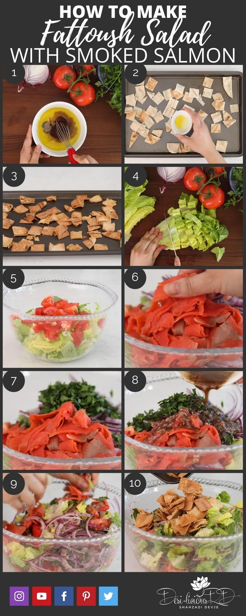 step by step prep shots of how to make fattoush salad with smoked salmon