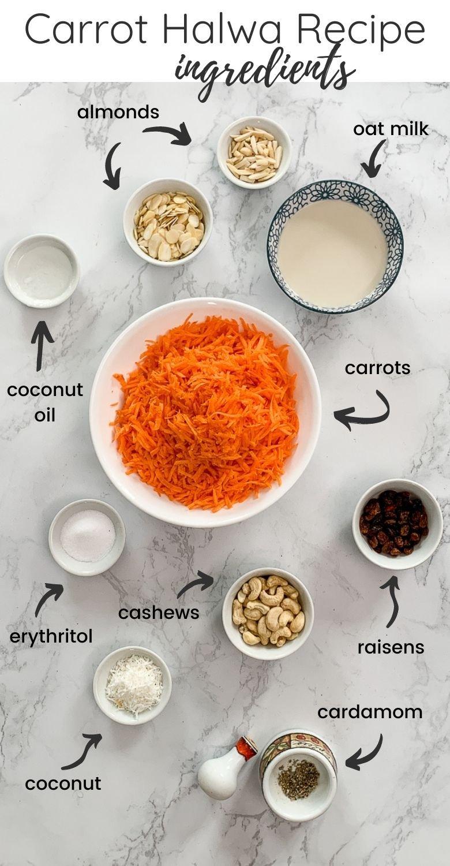 overhead shot of ingredients required to make carrot halwa aka gajjar halwa