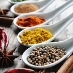 Various of spices on rustick wooden table