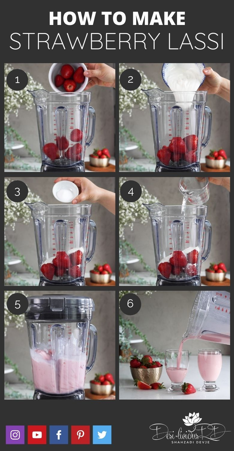 step by step preparation shots of how to make strawberry lassi in a blender