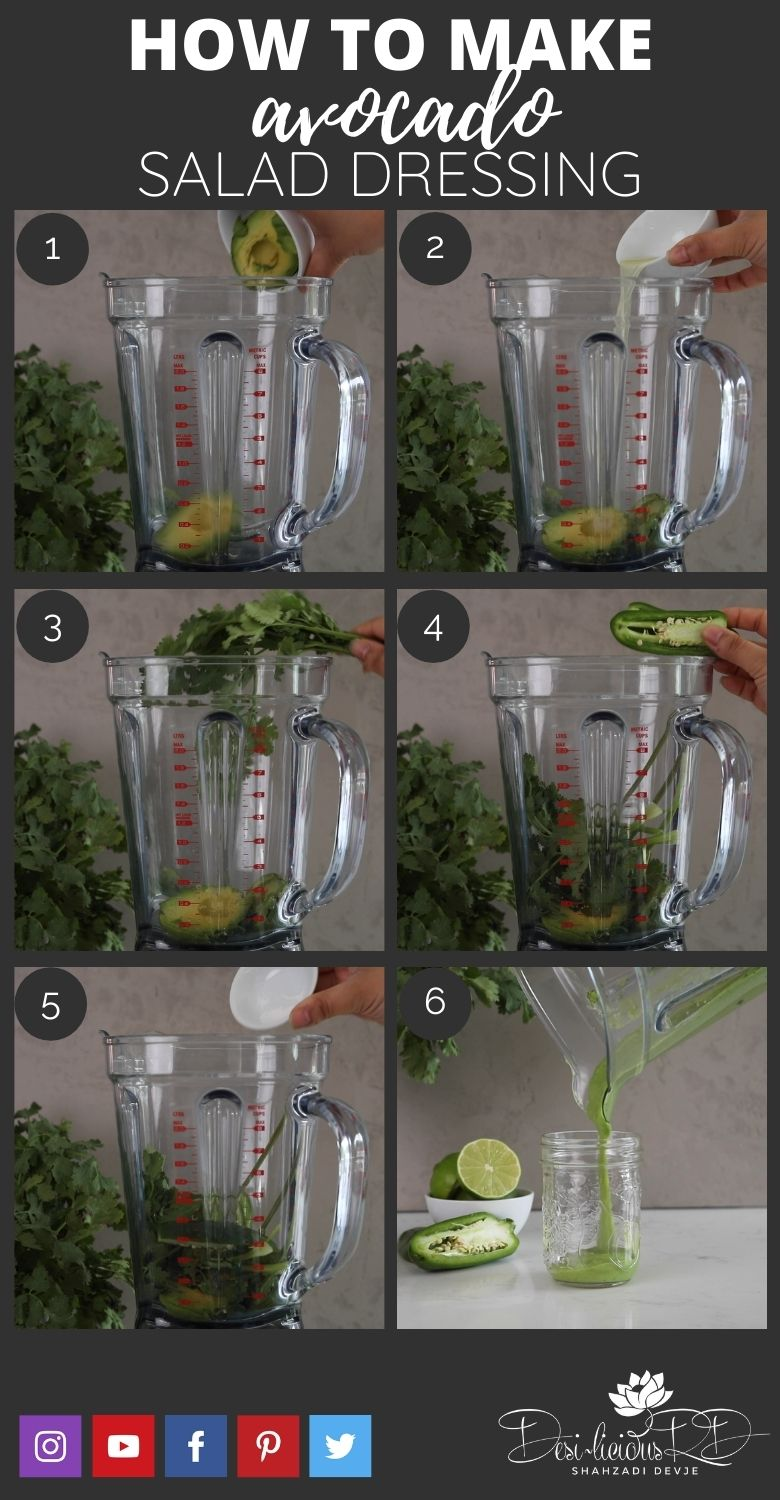 step by step preparation shots of how to make homemade avocado salad dressing in a mason jar
