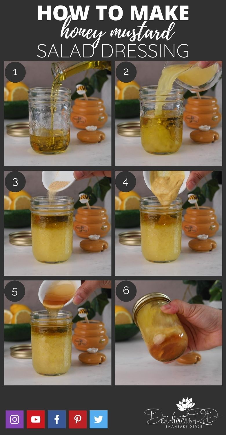 step by step preparation shots of how to make homemade honey mustard salad dressing in a mason jar