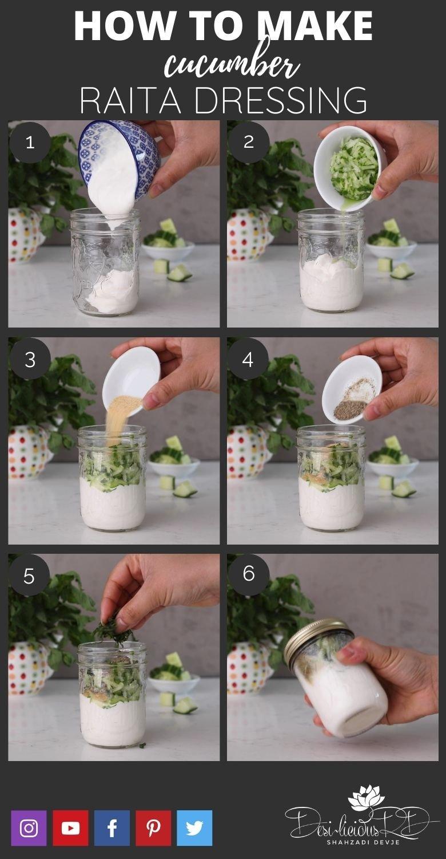 step by step preparation shots of how to make homemade raita in a mason jar