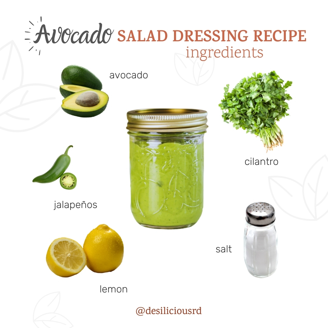 graphic showing avocado salad dressing in a mason jar with its respective ingredients all around with accompanying labels