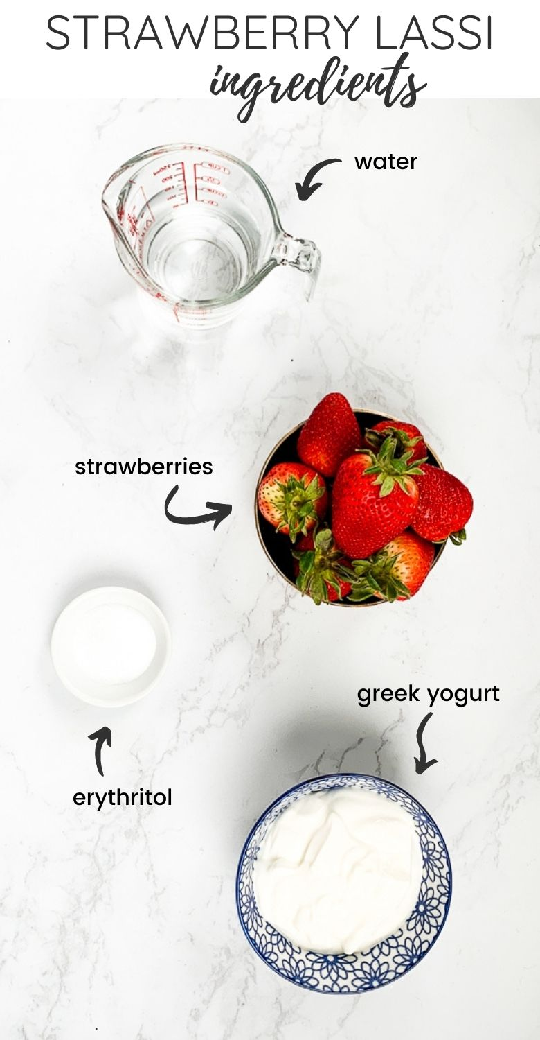 labelled ingredients of what's needed to make strawberry lassi drink
