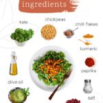 graphic showing ingredients needed to make kale salad with spicy roasted chickpeas.