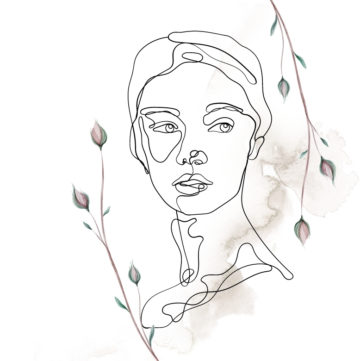 graphic of lady's face and neck with outline and floral buds around her face.