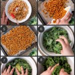 step by step preparation shots of how to make kale salad with spicy roasted chickpeas.