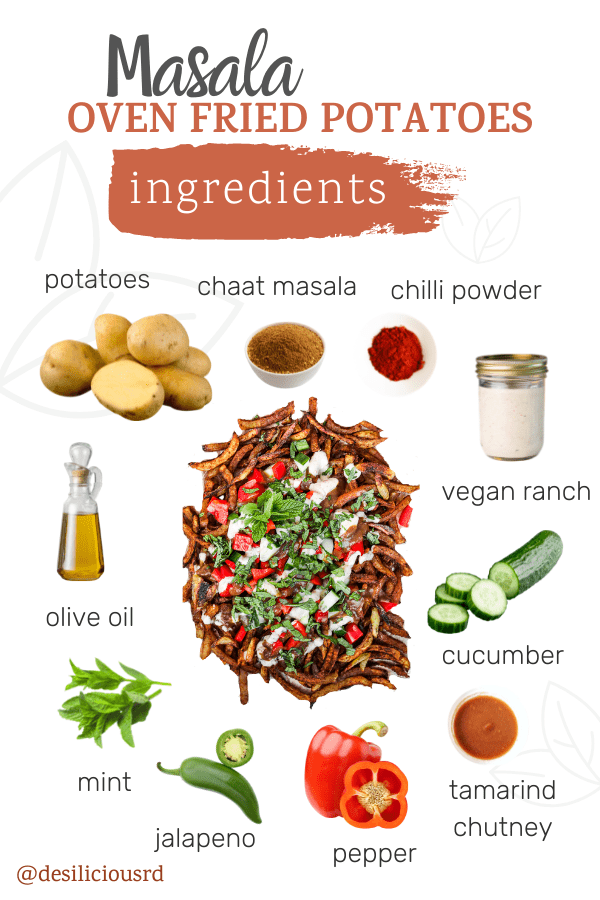 graphic showing loaded oven baked french fries with its respective ingredients all around with accompanying labels