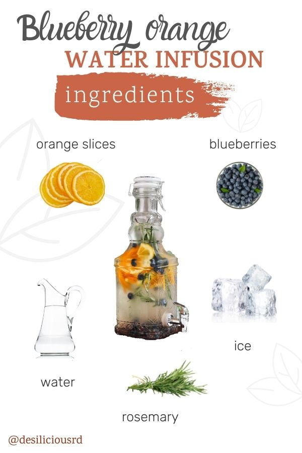 graphic showing the ingredients needed to make orange water with accompanying labels.