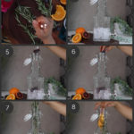 step by step preparation images of how to make blueberry orange water infusion in a pitcher with berries, orange slices, ice and sprigs of rosemary