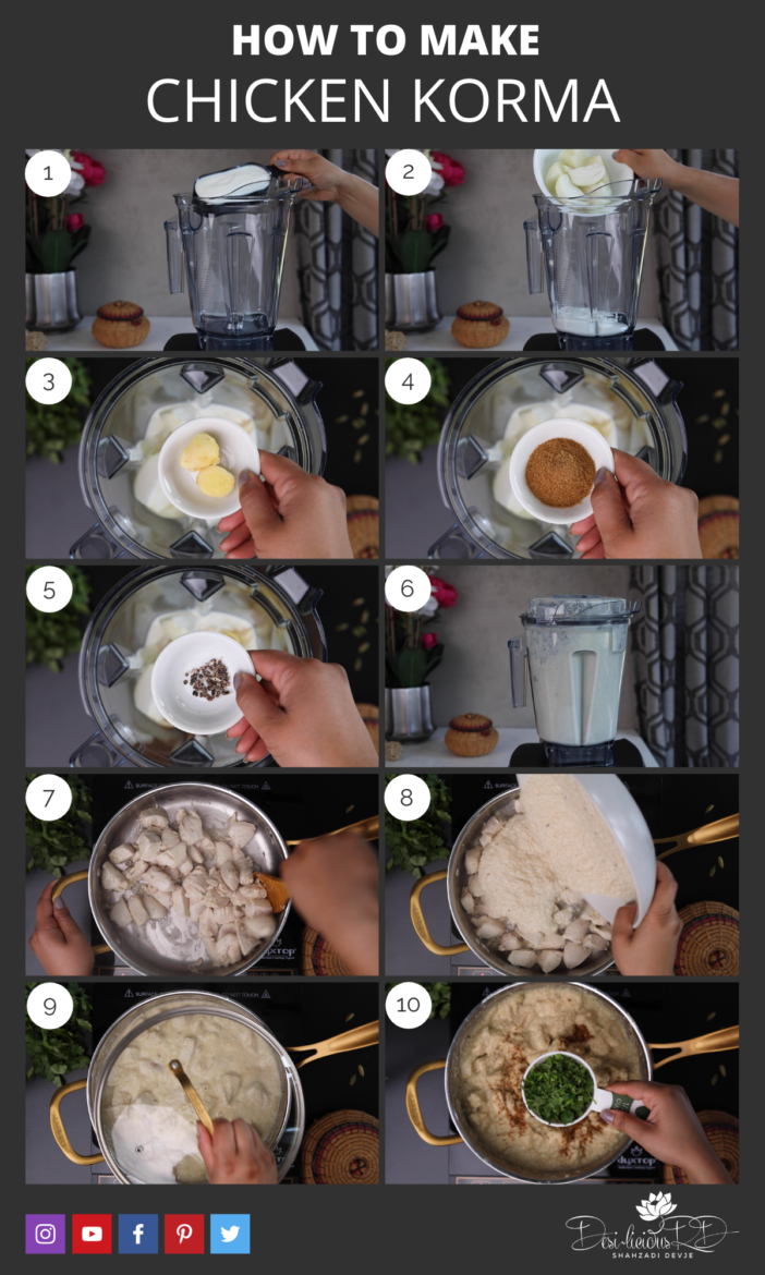 step by step preparation of how to make chicken korma in a blender on the stove top