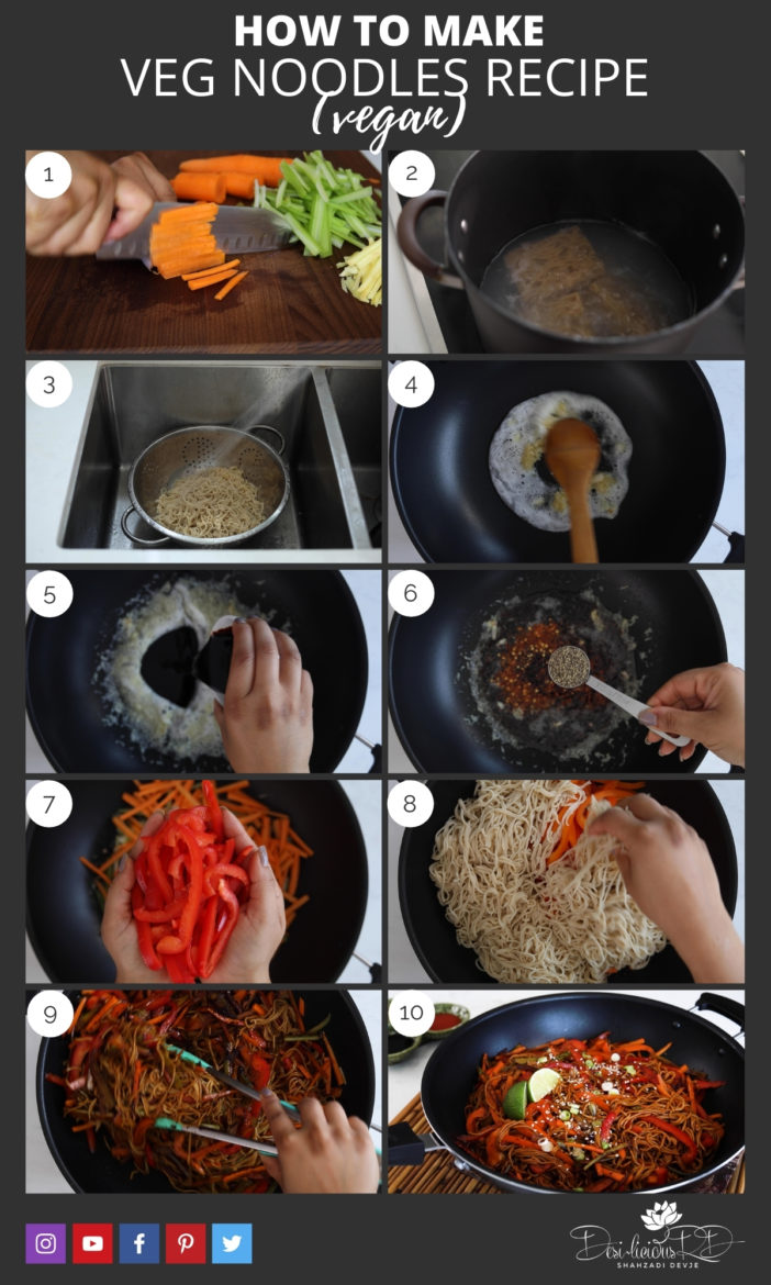 step by step preparation images of how to make homemade veg noodles recipe in a wok