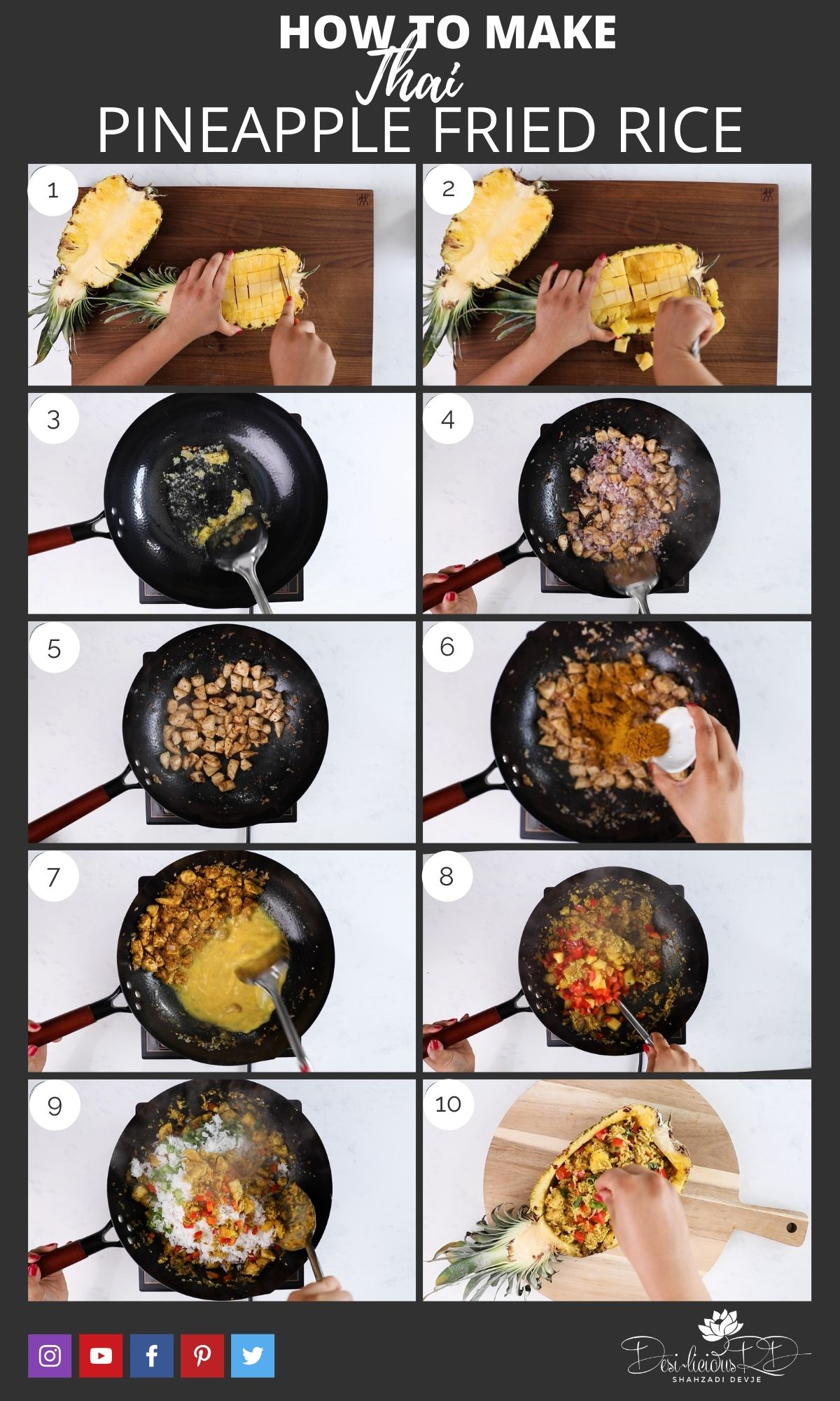 step by step preparation images of how to make Thai pineapple fried rice in a wok