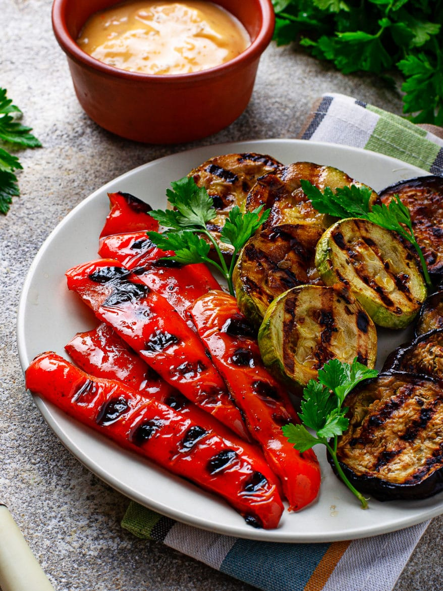 Grilled vegetables. Zucchini, bell pepper and eggplant. Summer vegan food