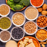 Healthy diet vegan food, veggie protein sources. Top view.