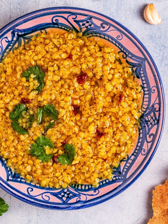 Lentil soup (Masoor Dal or Dal Tadka Curry), vegetarian, vegan cuisine.
