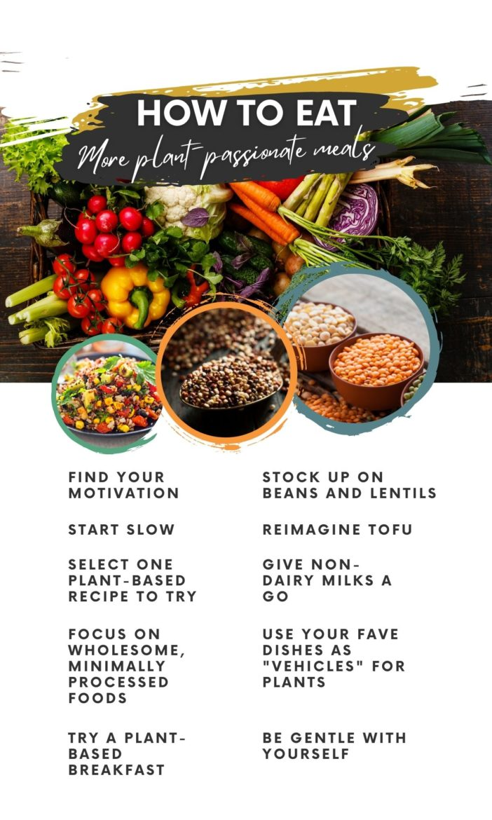 graphic sharing tips on how to transition to a whole foods plant based diet