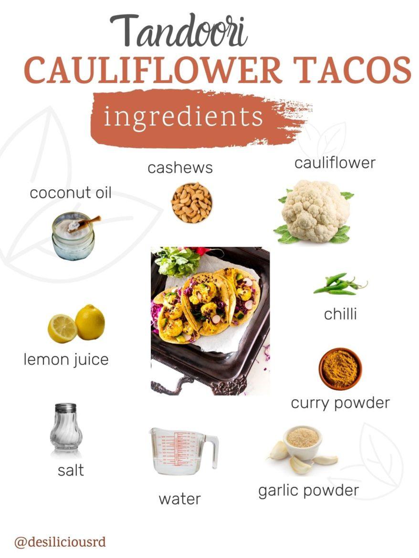 graphic showing ingredients needed to make tandoori cauliflower tacos