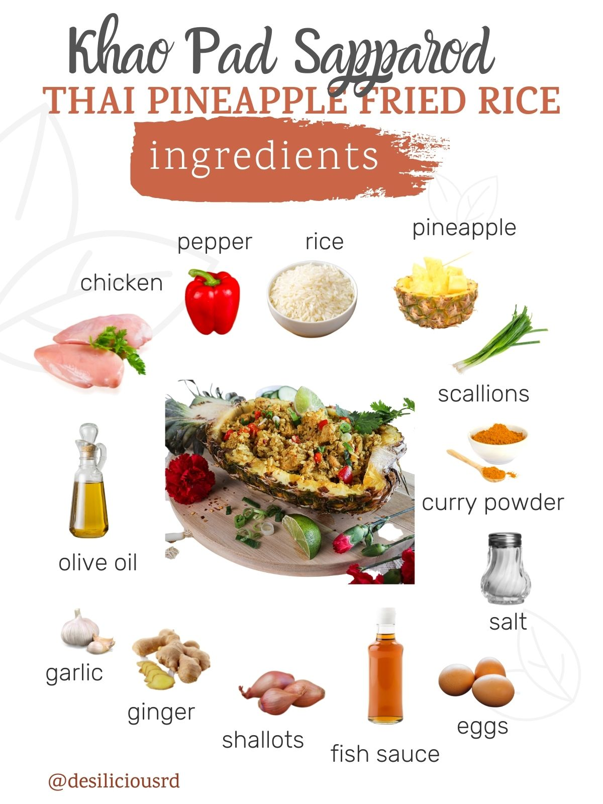 graphic showing ingredients required to make Thai pineapple fried rice (khao pad sapparod) with accompanying labels