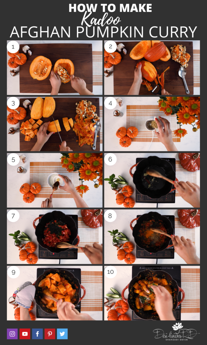 step by step preparation images of how to make pumpkin curry (kadoo)