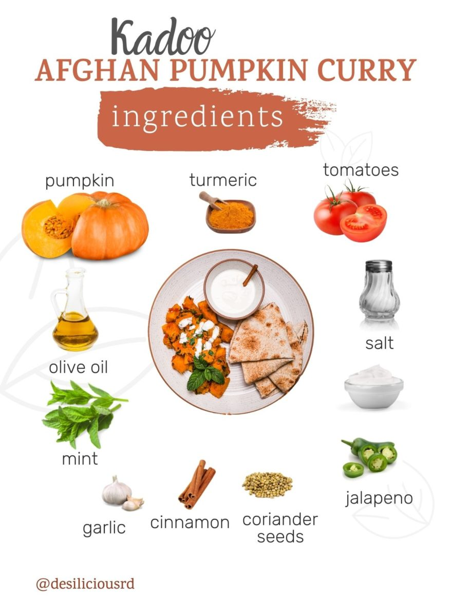 graphic showing ingredients needed to make kadoo (Afghan Pumpkin curry) with accompanying labels